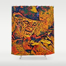A Nightmare Elm Street Freddy Krueger Angry Artistic Illustration Evil Shapes Style Shower Curtain