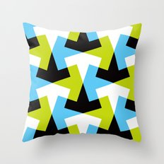 Geometric pattern (green + blue) Throw Pillow