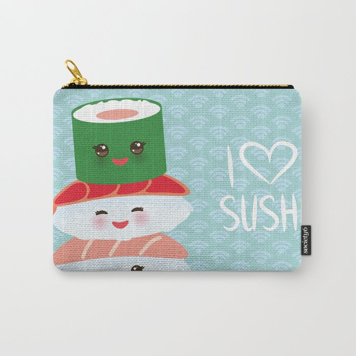 fa2eeea23 I love sushi. Kawaii funny sushi set with pink cheeks and big eyes, emoji.  Blue japanese pattern Carry-All Pouch by ekaterinap | Society6
