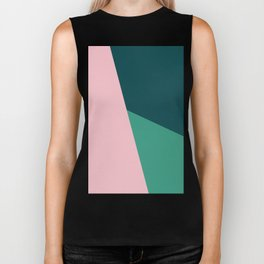 Geometric design in pink & green Biker Tank