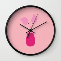 winnie the pooh Wall Clocks featuring Winnie the Pooh - Piglet by TracingHorses