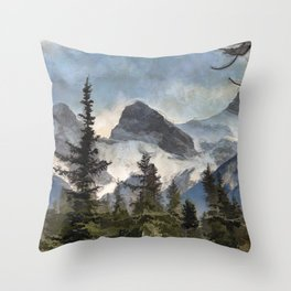 The Three Sisters - Canadian Rocky Mountains Throw Pillow