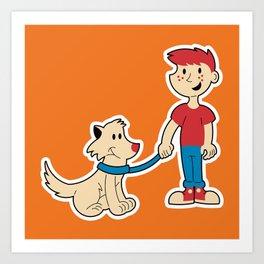 Boy and His Dog Art Print