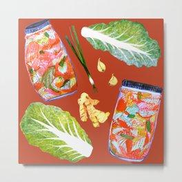 Kimchi Ingredients Spicy Fun Fermentation Watercolor Red Metal Print