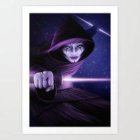 jedi Art Prints featuring Lady Jedi by Jordygraph