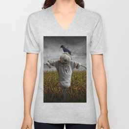 Scarecrow with Black Crows over a Cornfield Unisex V-Neck