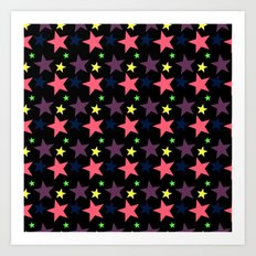 Happy Stars on Black Art Print