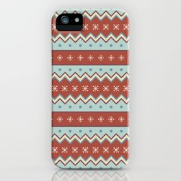 Red And White Zig Zag Christmas Pattern iPhone Case