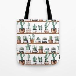 Cactus Shelf Rose Gold Green Tote Bag