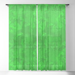 Calm intersecting herbal stars on a green background. Sheer Curtain