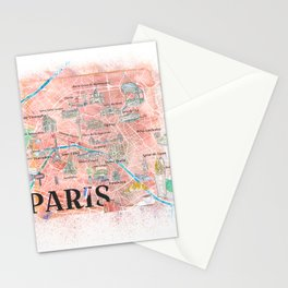 Paris France Illustrated Map with Main Roads, Landmarks & Highlights Stationery Cards