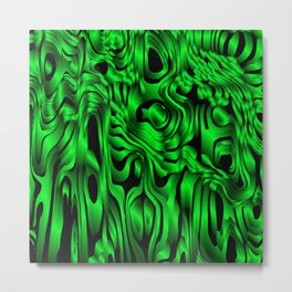 Magical flowing green avalanche of lines with dark. Metal Print