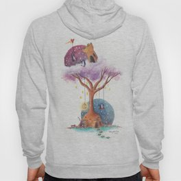Penguins and Their Dream Tree with Castle Above and Igloo Below Hoody