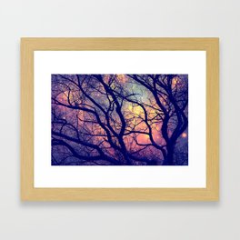 Black Trees Deep Pastels Space Framed Art Print