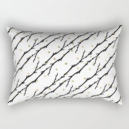 White faux gold polka dots black watercolor tree branch Rectangular Pillow