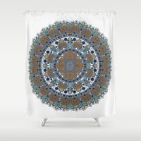 mandela Shower Curtains featuring Knit Mandela by Robin Curtiss