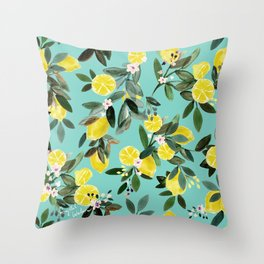 Summer Lemon Floral Throw Pillow