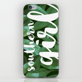 Southern Girl, Southern Magnolia Leaves, Dark Green iPhone Skin