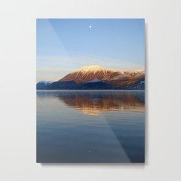 Moonlight Reflection on Bennett Lake, Carcross, Yukon Canada Metal Print