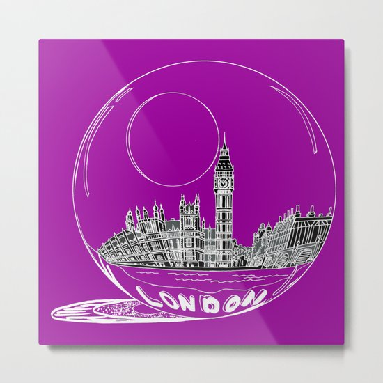 the city of London on a purple background Metal Print
