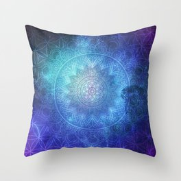 Abstract Flower of life Deep Space Throw Pillow