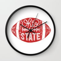 ohio state Wall Clocks featuring Ohio State Football by Kasi Turpin