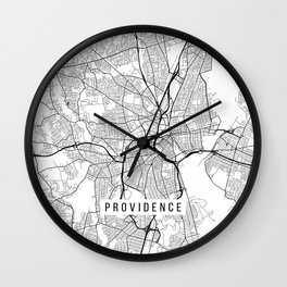 Providence Map, USA - Black and White Wall Clock