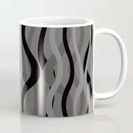 Wave Lines and Stripes black grey grey Coffee Mug