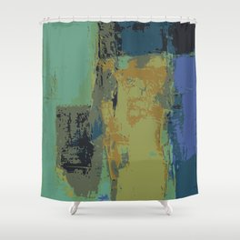 Infinity abstract art print blue Shower Curtain