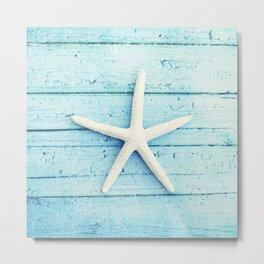 Starfish Beach Photography, Aqua Seashell Art, Coastal Nautical Photograph Metal Print