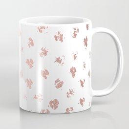 Rose Gold Pink Polka Splotch Dots on White Coffee Mug