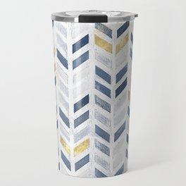 Herringbone chevron pattern. Indigo gold acrylic on canvas Travel Mug