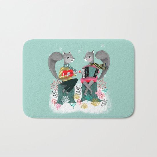 Squirrels' Christmas by Andrea Lauren  Bath Mat