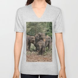 Sri Lanka Elephants in Jungle Landscape Unisex V-Neck