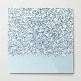 Sparkly Silver & Alice Blue Glitter Ombre Metal Print