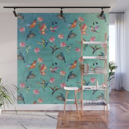 Vintage Watercolor hummingbirds and fuchsia flowers Wall Mural