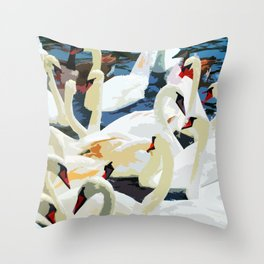 Swans on the Lake Throw Pillow