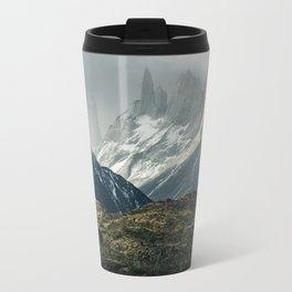Menacing Mountain peaks with fog coming in Travel Mug