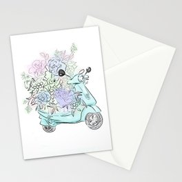 flowers and scooter. Flowers art Flower Art Print. Stationery Cards