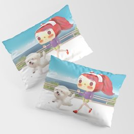 Little girl running with her dog Pillow Sham