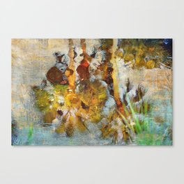 Palm Trees in Pond Canvas Print
