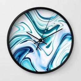 Liquid Marble - aqua & blues Wall Clock