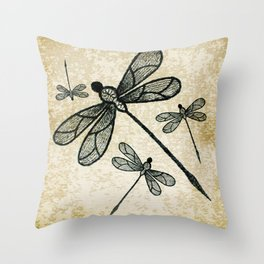 Dragonflies on tan texture Throw Pillow