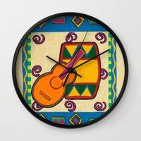 drum Wall Clocks featuring Drum by Karen Cabral Sullivan Illustration & Des