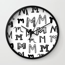 Letter M Black and White Doodles Wall Clock