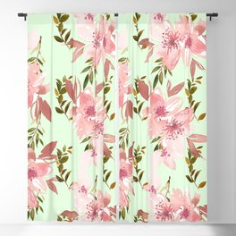 Modern botanical mint green pink watercolor floral Blackout Curtain