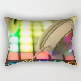 Headphones on a launchpad Rectangular Pillow