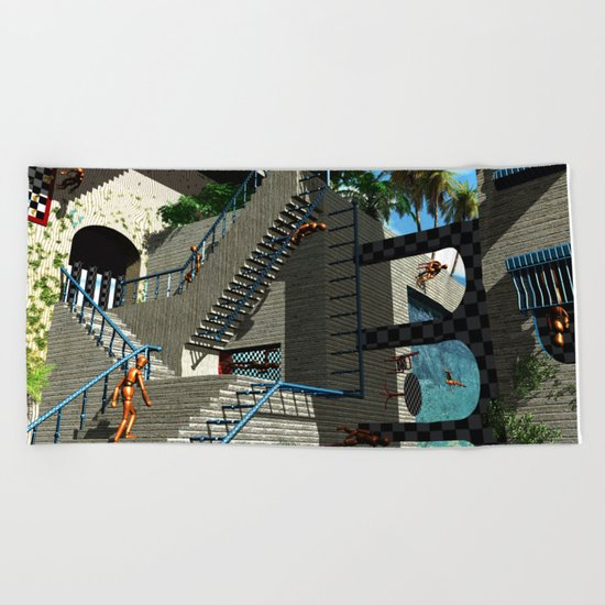 Optical Illusion - Tribute to Escher Beach Towel