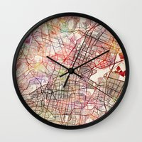 mexico Wall Clocks featuring Mexico by MapMapMaps.Watercolors