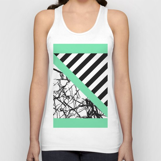 Stripes N Marble - Black and white geometric stripes and marble pattern, bold on green background Unisex Tank Top